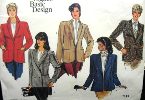 vogue 1980s sewing pattern
