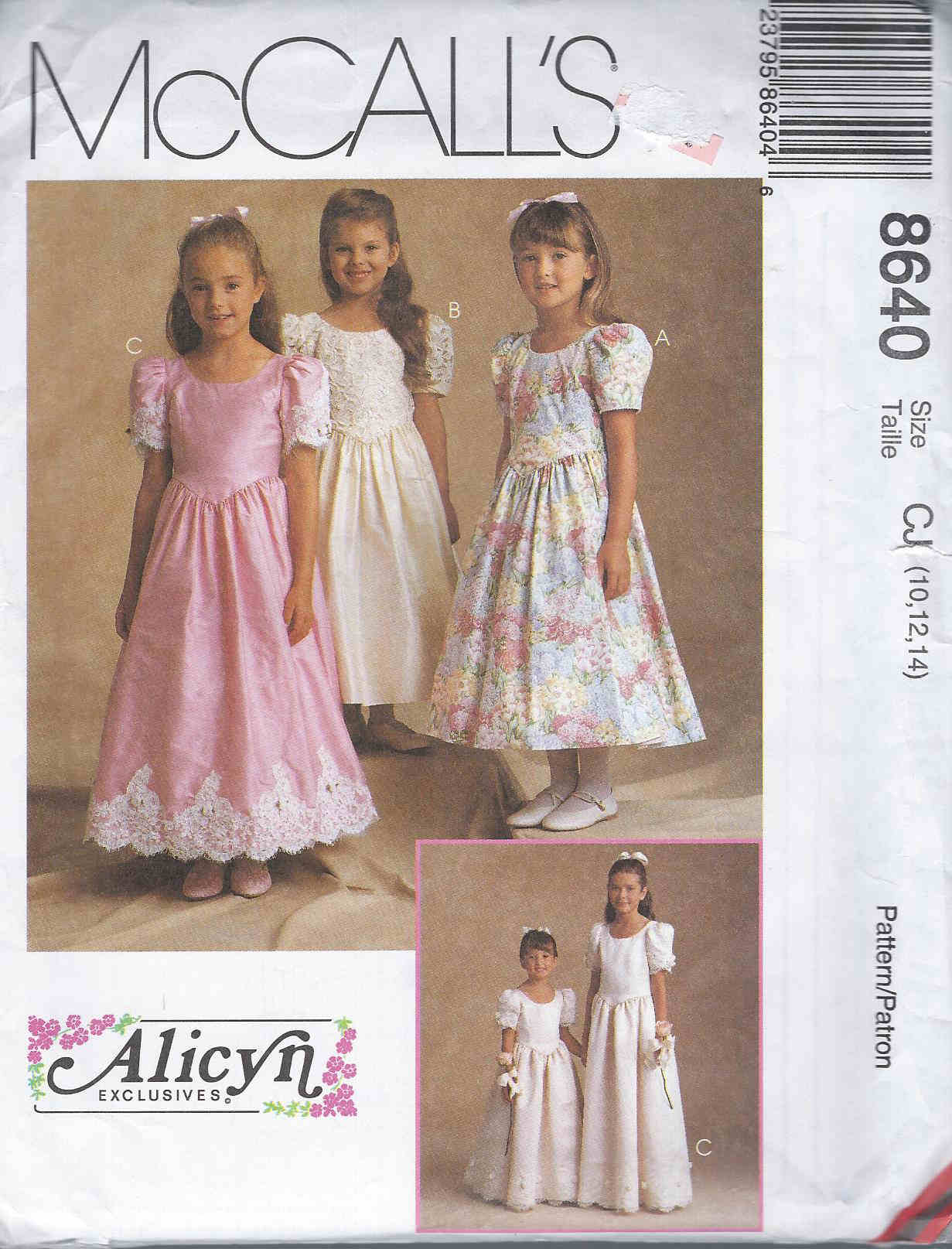 Alicyn Exclusives flower girl dress sewing pattern