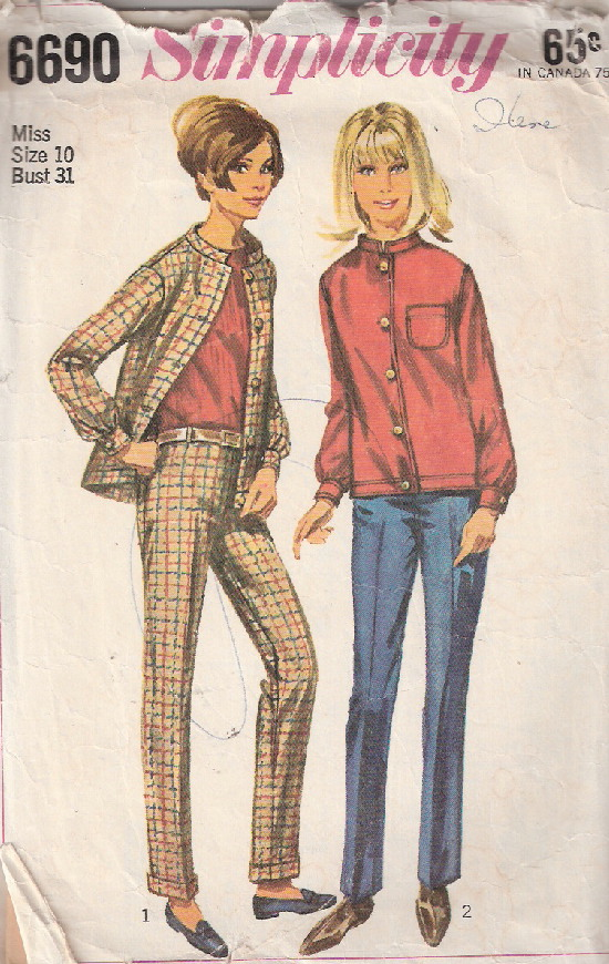 jacket hiphugger pants sewing pattern