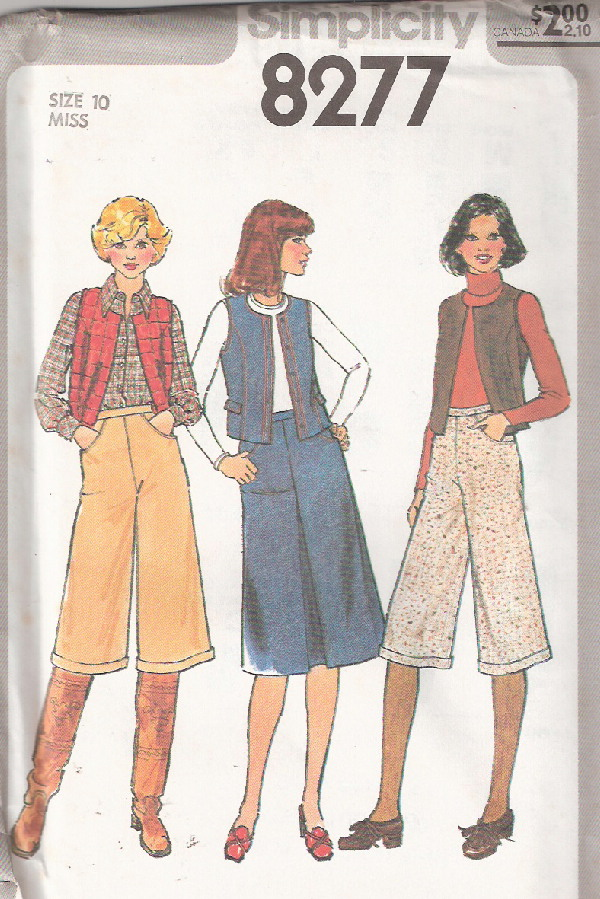skirt vest gaucho pants sewing pattern